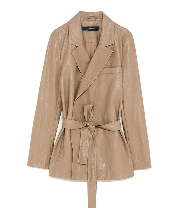 Zara Faux Leather Belted Jacket