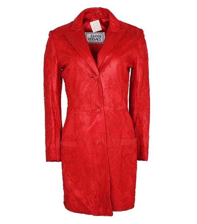 Gianni Versace Cherry Red Leather & Lace Coat