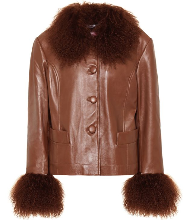 Saks Potts Dorthe Fur-Trimmed Leather Jacket