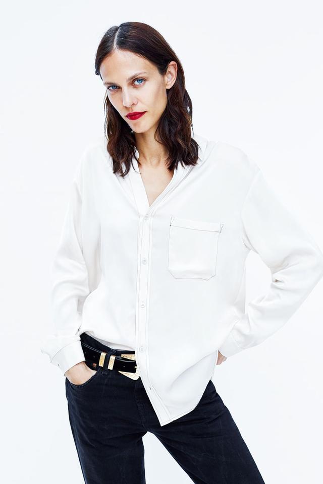 Zara Contrasting Topstitching Shirt