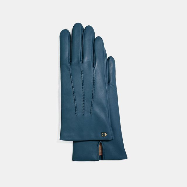 Coach Sculpted Signature Short Leather Gloves