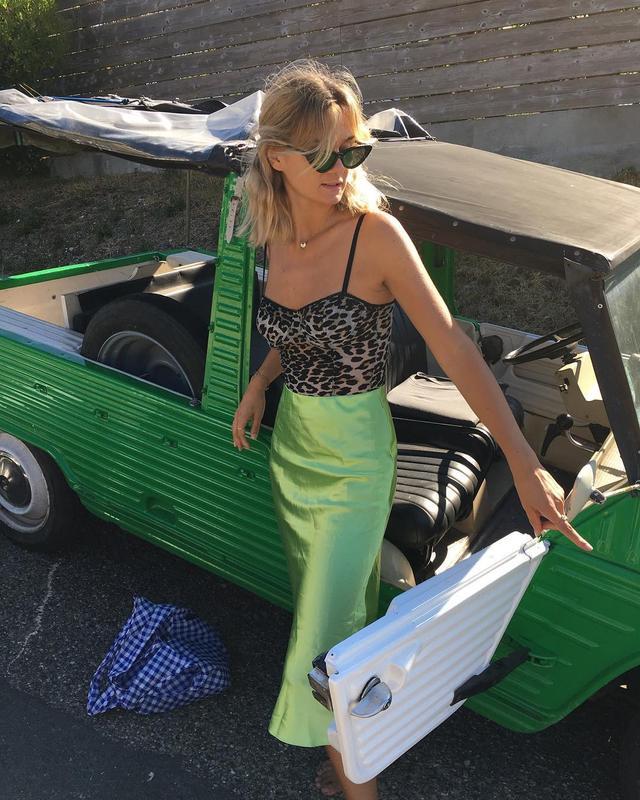 Lime green slip skirt outfit