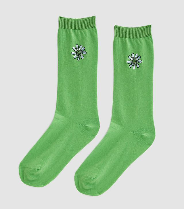 Classon Embroidery Socks in Classic Green