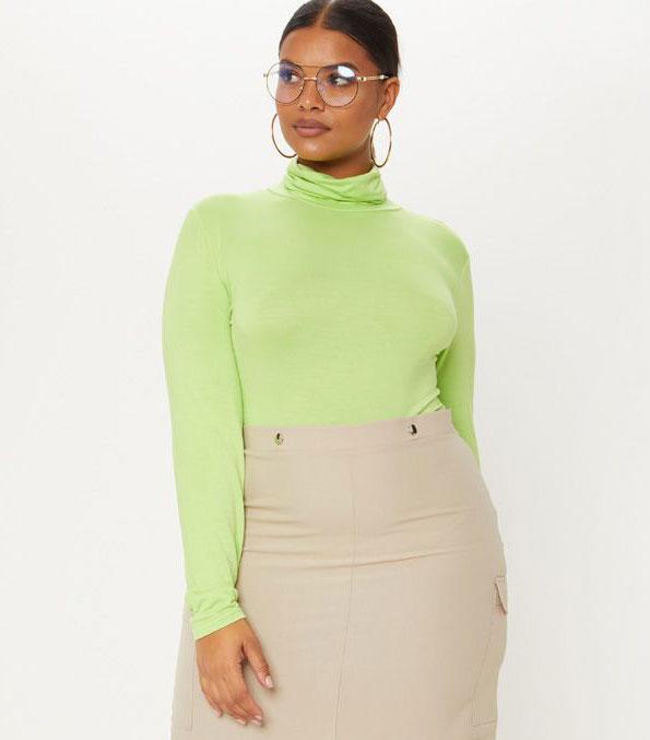 Pretty Little Thing Neon Lime Basic Roll Neck Long Sleeve Bodysuit