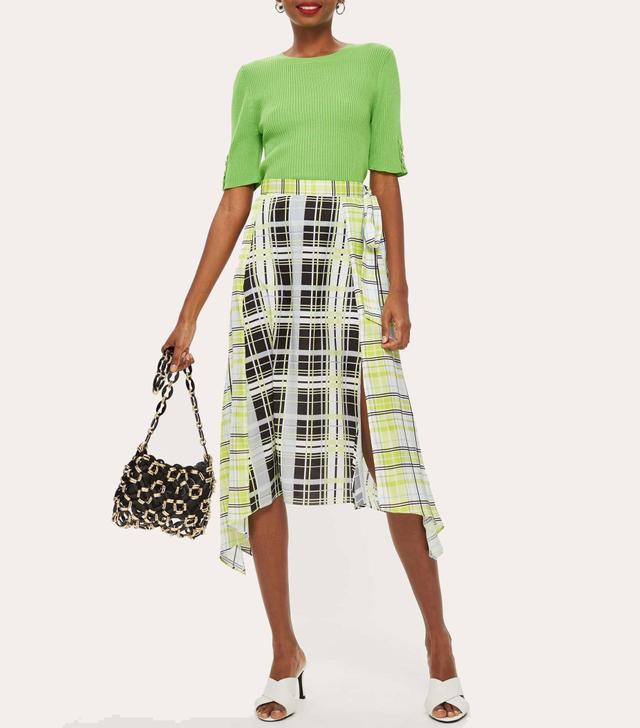 Obsession Mixed Check Print Midi Skirt