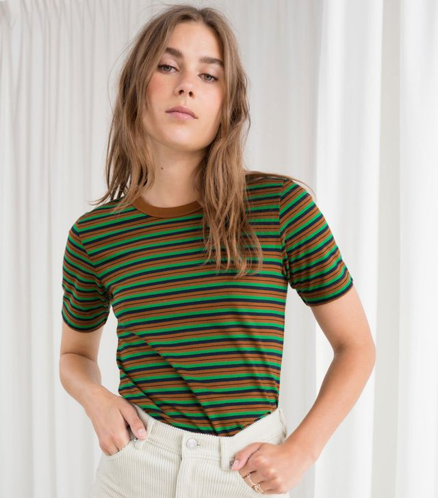 & Other Stories Cotton Striped Ringer Tee