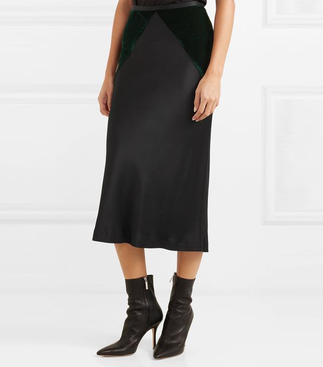 Two-tone Stretch-satin And Velvet Midi Skirt