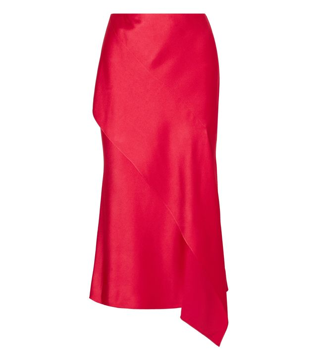 Draped Satin-Crepe Midi Skirt