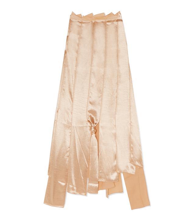 Lauren Asymmetric Satin Midi Skirt