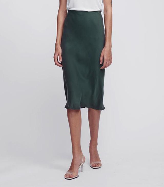 Silk Laundry Bias Cut Skirt Hunter Green