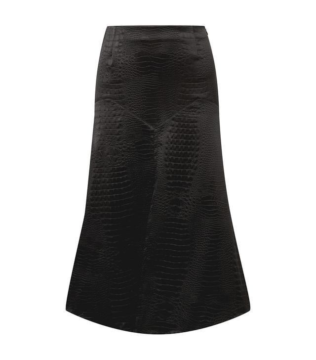Croc-Effect Satin Midi Skirt