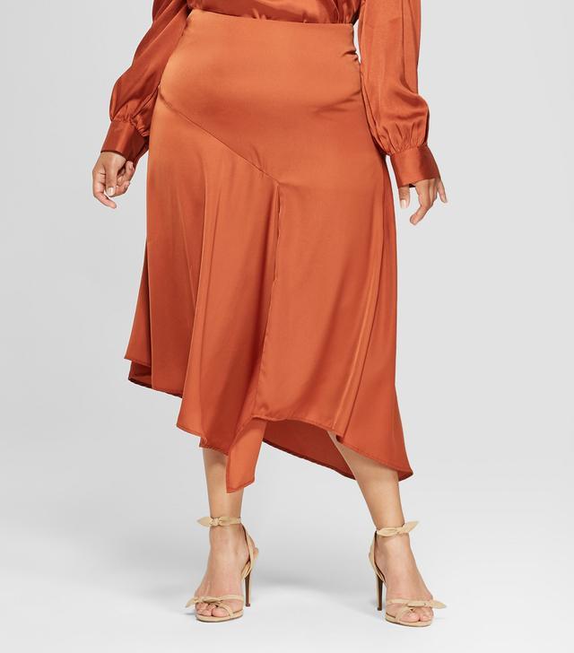 Seamed Asymmetric Hem Slip Skirt