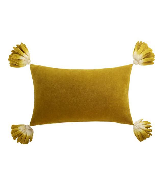 """18""""x12"""" Bia Tassel Mustard Velvet Pillow with Down-Alternative Insert"""