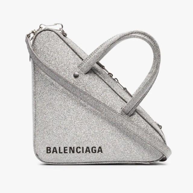 Balenciaga Silver Metallic Triangle Glitter Leather Shoulder Bag