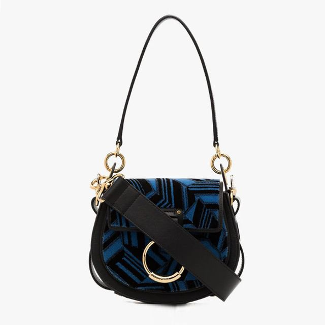 Chloé Leather Tess Small Embroidered Shoulder Bag