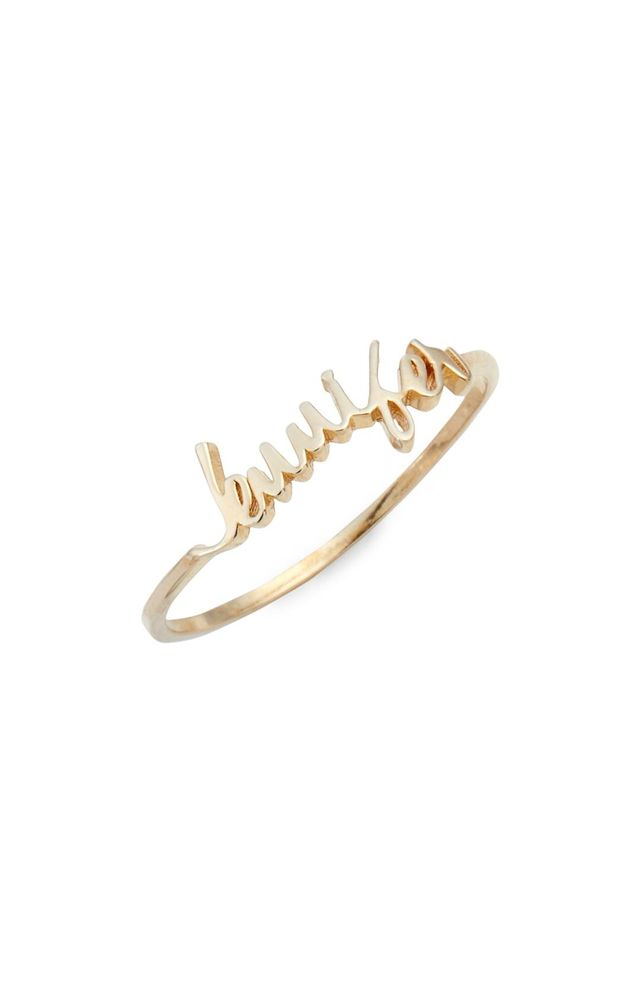 Argento Vivo Personalized Script Ring