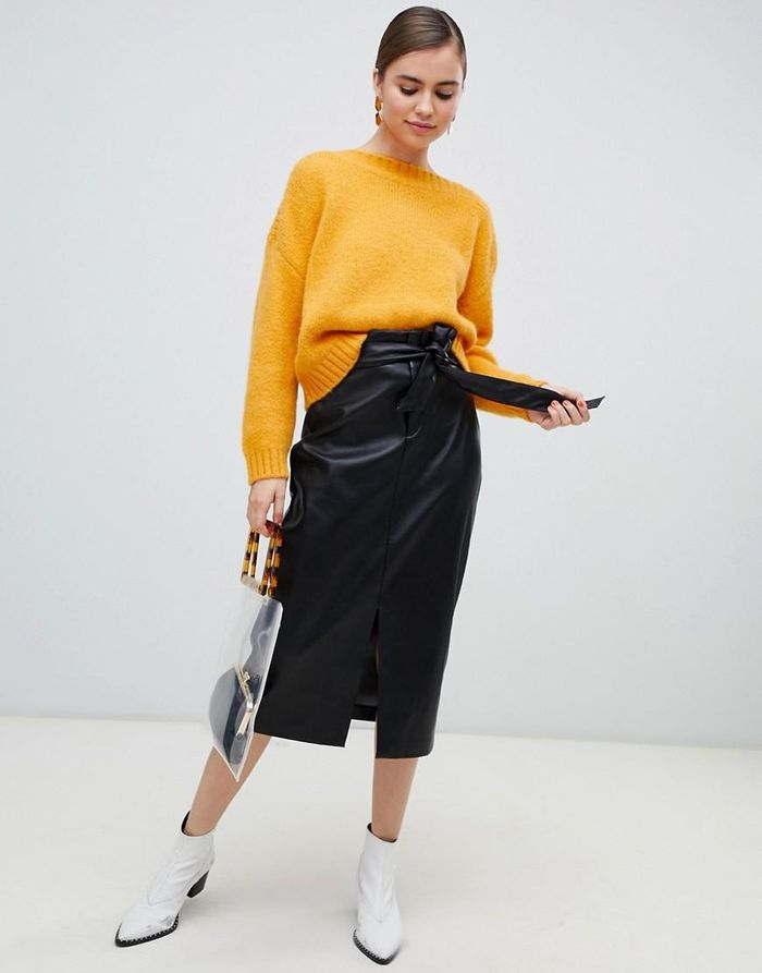 1f97161a84 20 Leather Midi Skirts You'll Want to Wear All Season | Who What Wear