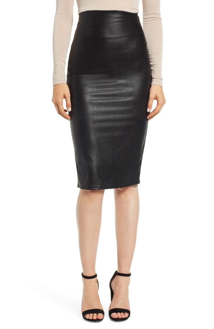780cf38e61d74 20 Leather Midi Skirts You ll Want to Wear All Season