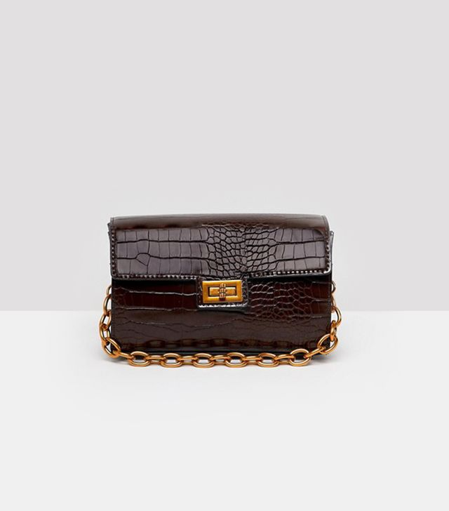 croc structured boxy cross body with detachable strap