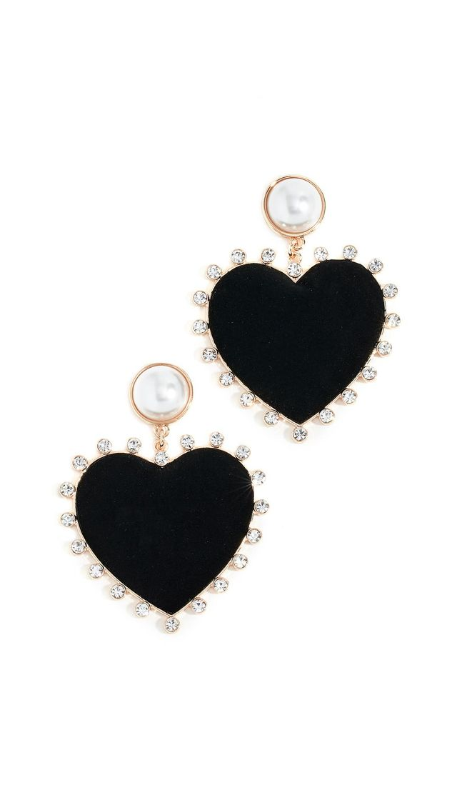 Imitation Pearl Studs with Fabric Heart Earrings