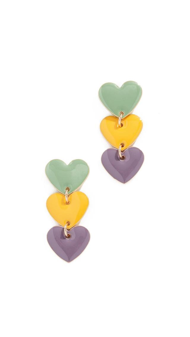 Enamel Heart Drop Earrings