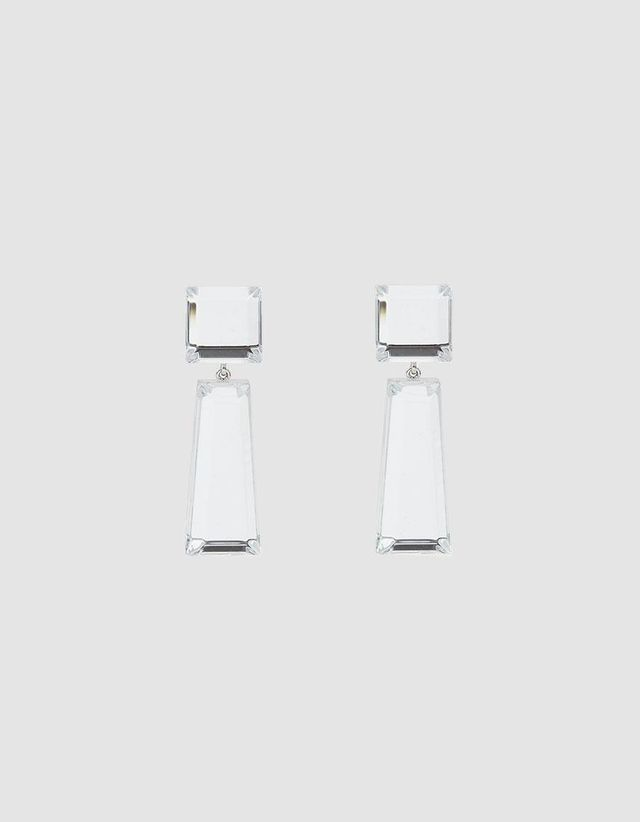 Beam Geometric Earrings in Clear
