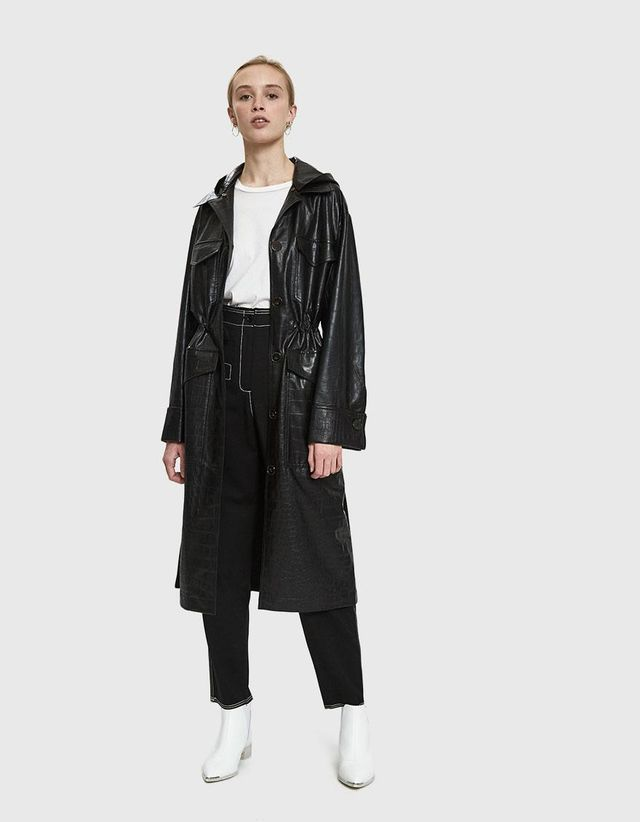 Gus Croc-Embossed Vegan Leather Coat