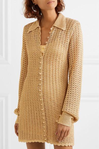 Alice McCall Metallic Crochet Knit Dress