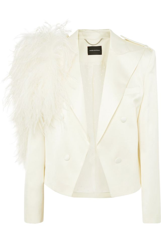 Lubeck Feather-trimmed Silk And Wool-blend Blazer