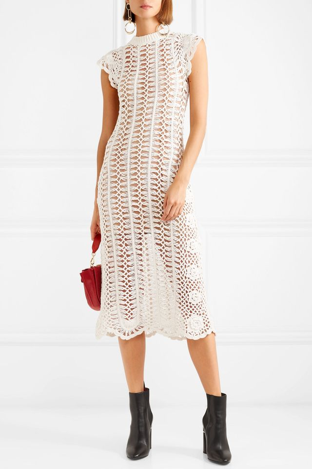 Crocheted Cotton Midi Dress