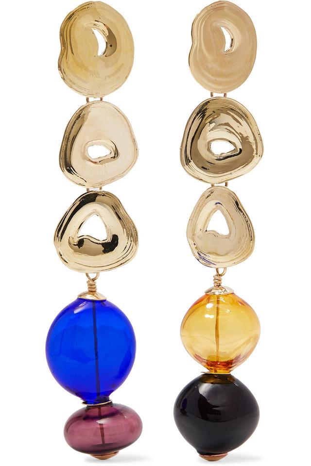 Gumdrop Long Gold-tone And Glass Earrings