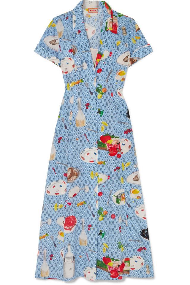 Marlin Printed Silk Crepe De Chine Midi Dress