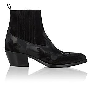 Women's Leather & Suede Western Ankle Boots - Black Size 6.5