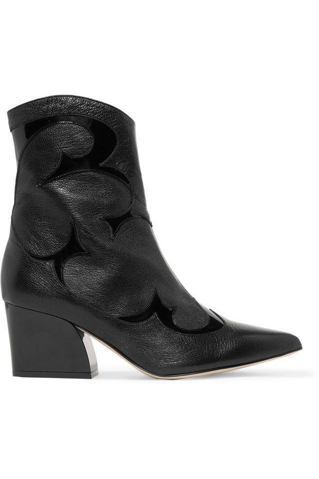 Felix Patent-trimmed Leather Ankle Boots