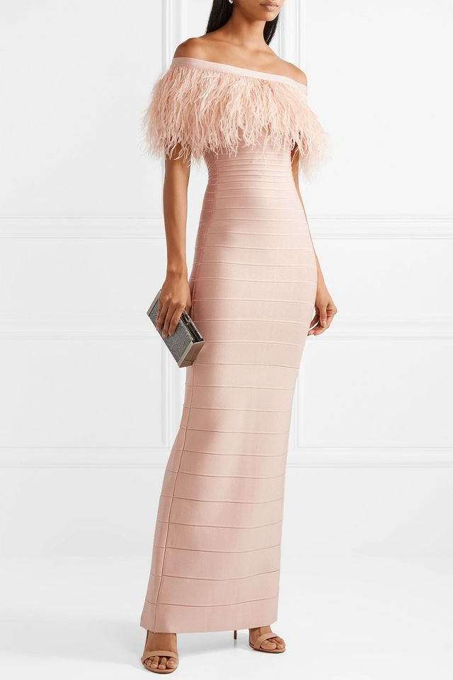 Off-the-shoulder Feather-trimmed Bandage Gown