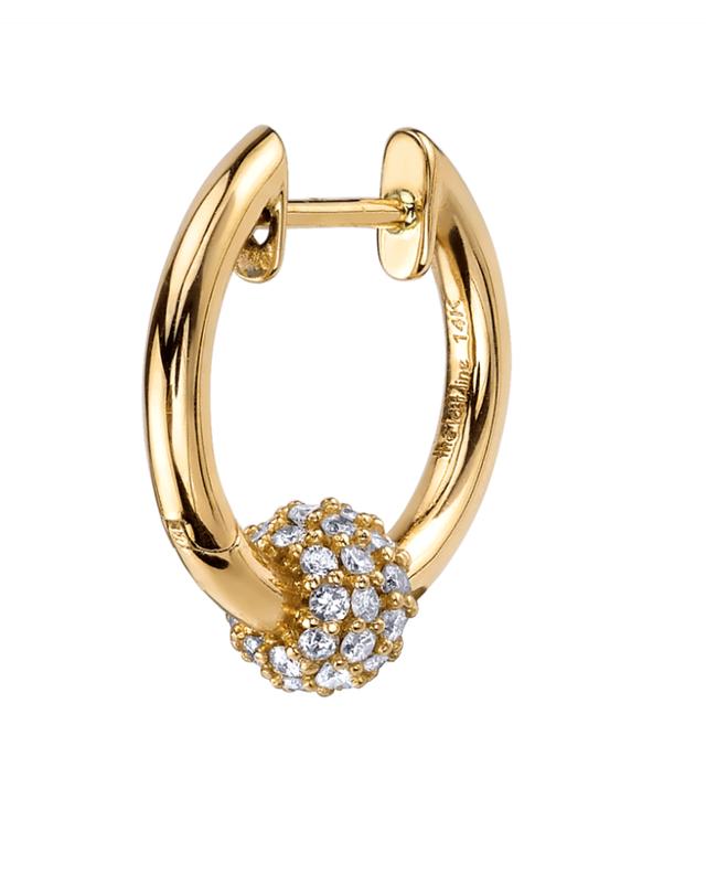The Last Line Diamond Sphere Hoop Earrings