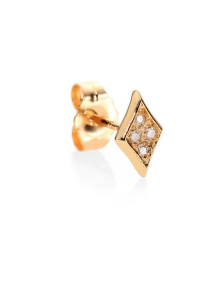 Jacquie Aiche Diamond & 14K Yellow Gold Kite Single Stud Earring