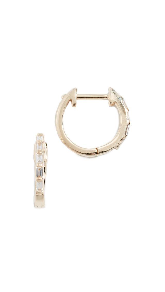 14k Baguette Diamond Huggie Earrings