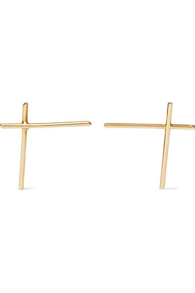 Wire Cross 18-karat Gold Earrings