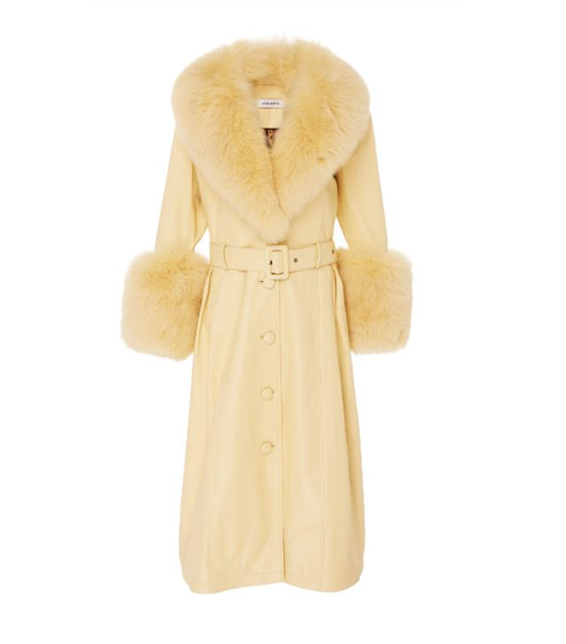 Celebrity party outfits: Saks Potts coat