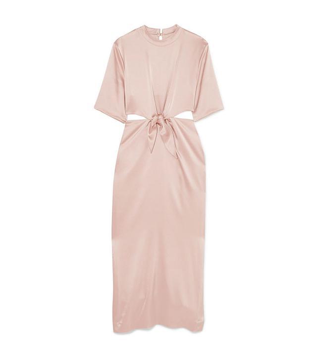 Celebrity party outfits: Nanushka pink dress