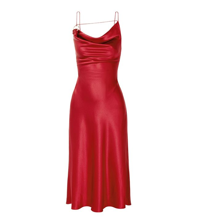 Celebrity party outfits: Cushnie red slip dress
