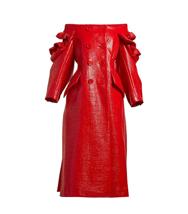 Celebrity party outfits: Simone Rocha red coat