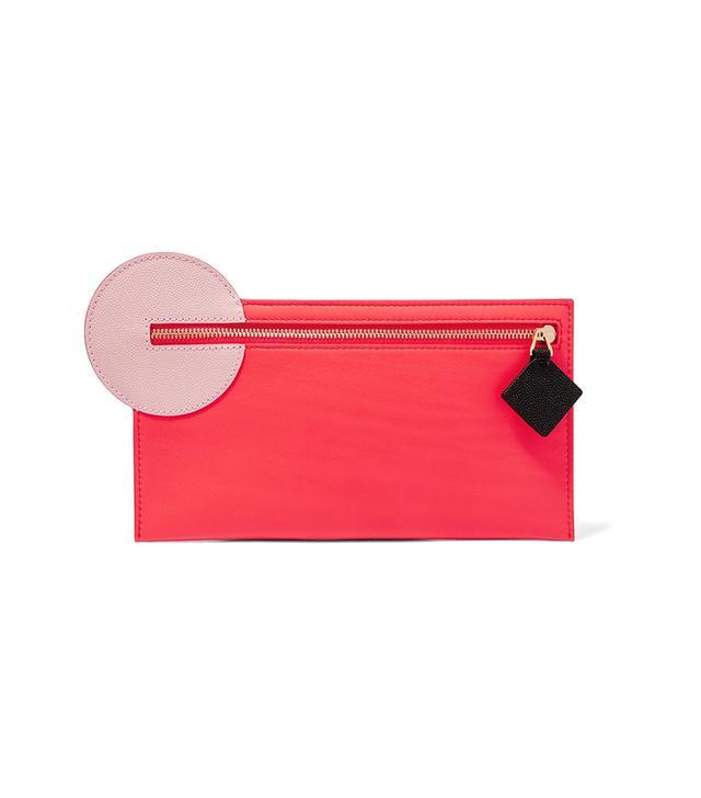 Color-block Leather Pouch