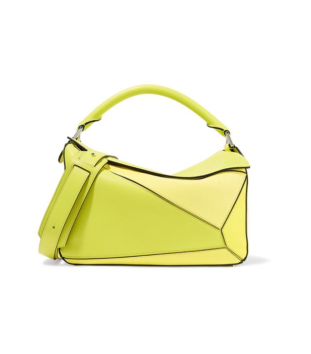 Puzzle Small Color-block Textured-leather Shoulder Bag