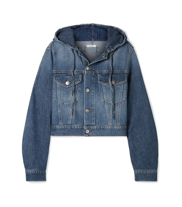 Cropped Hooded Denim Jacket