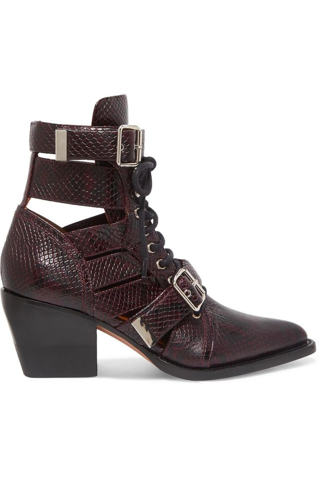 Rylee Cutout Snake-Effect Leather Ankle Boots