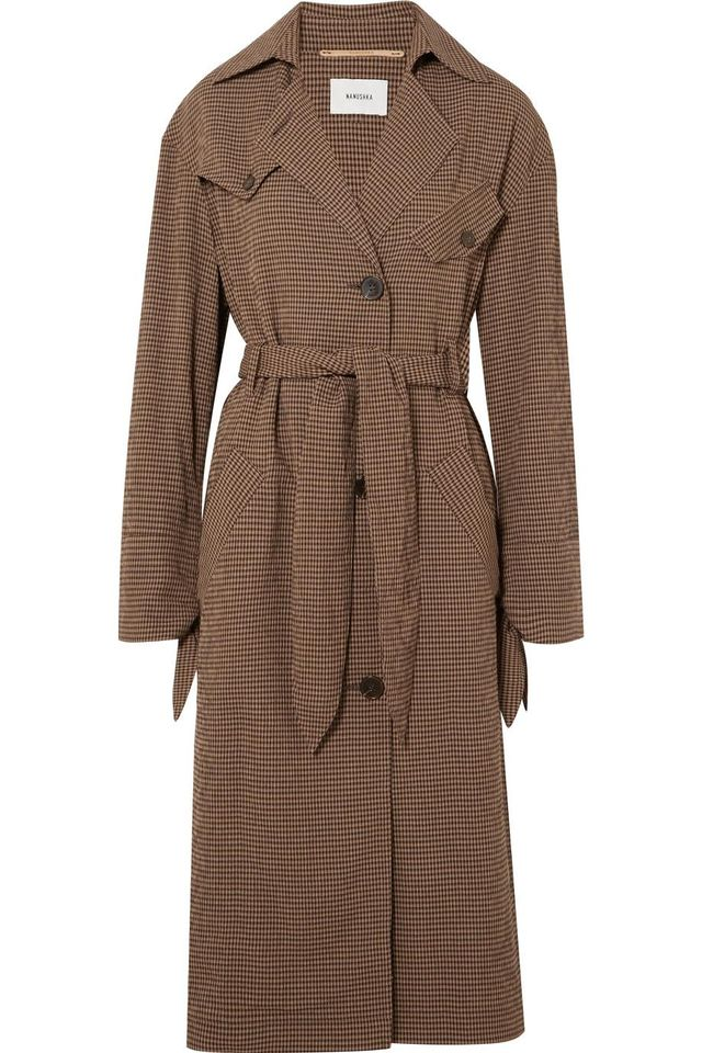 Gingham Woven Trench Coat