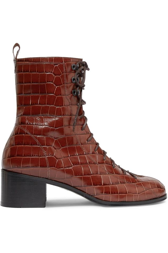 Bota Croc-effect Leather Ankle Boots