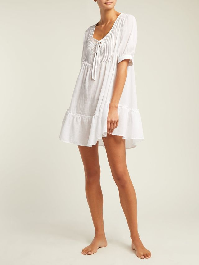 Pour Les Femmes Pin-Tuck Cotton Nightdress